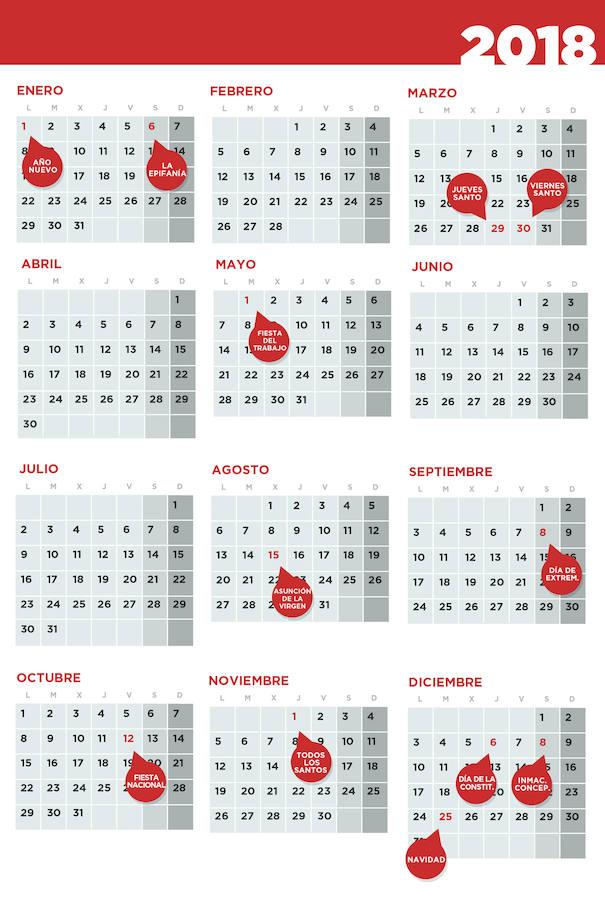 navidad 2018 calendario Extremadura aprueba el calendario de festivos para 2018 | Hoy navidad 2018 calendario