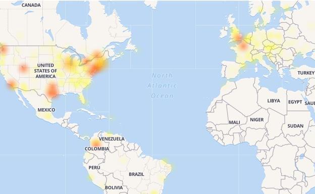 Mapa de calor caída de Facebook.