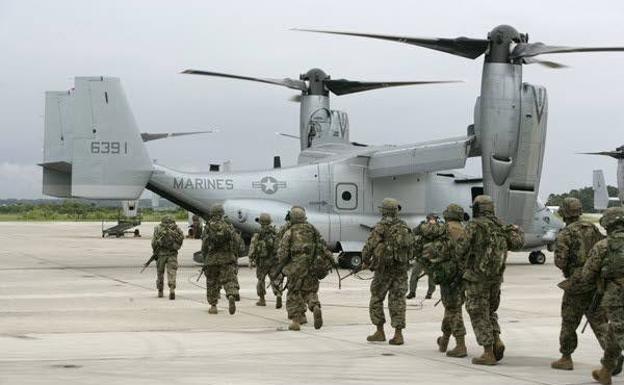 Embarque de marines americanos de una aeronave 'Osprey'. /Archivo